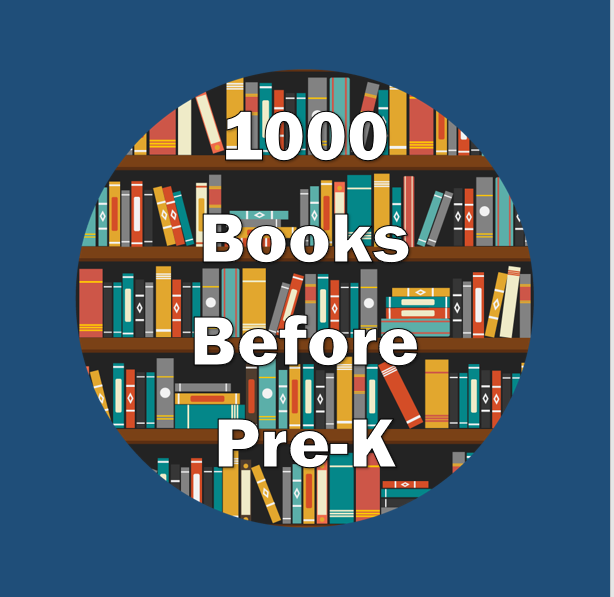 """Many books on a bookshelf with a text overlay that reads """"1000 Books Before Pre-K"""""""